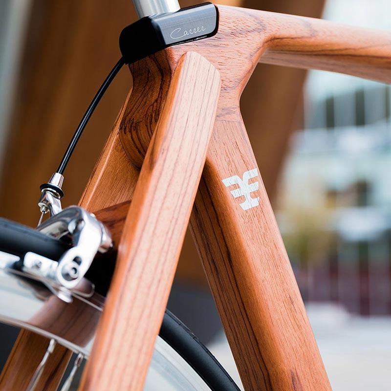 Dettagli del telaio in legno CarrerBikes