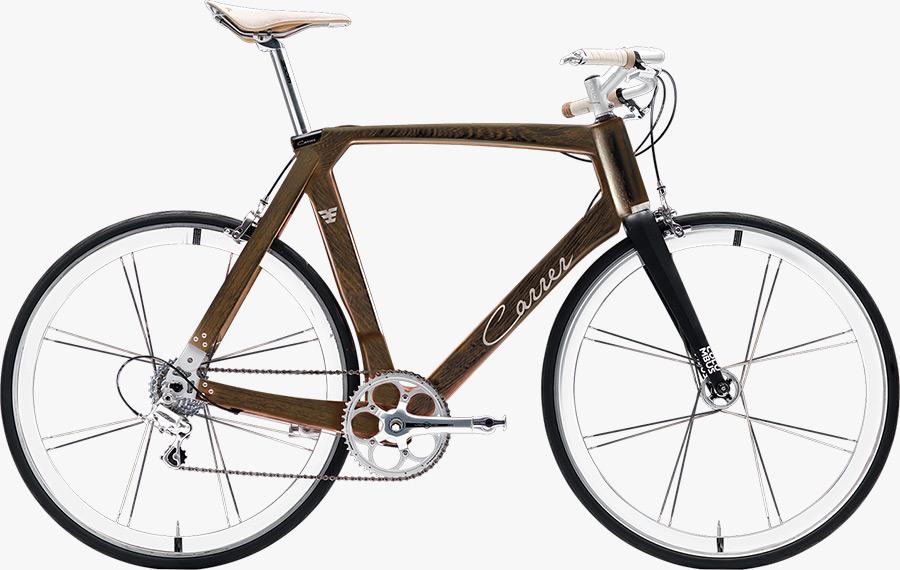 bicicletta artigianale col telaio in legno