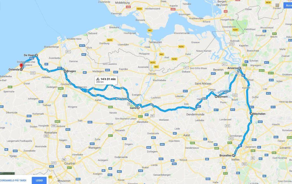 Mappa del Tour delle Fiandre in bicicletta